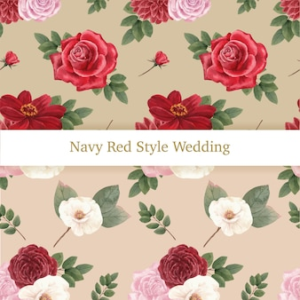 Modèle sans couture avec le concept de mariage de la marine rouge, style aquarelle