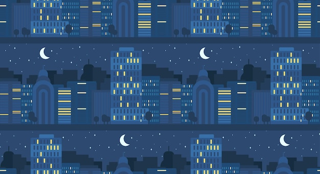 Modèle sans couture de concept de vie de la ville de nuit. rue de la ville. bannière de paysage urbain avec bâtiments, arbres, boutique, magasins, ciel et soleil. vecteur