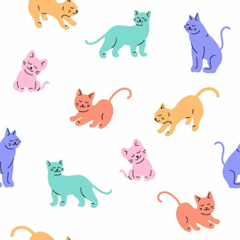 Modèle sans couture de conception de chat de dessin animé à la mode sur fond blanc