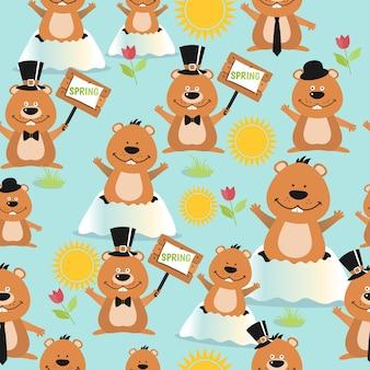 Modèle sans couture de conception jour heureux de la marmotte avec des marmottes.