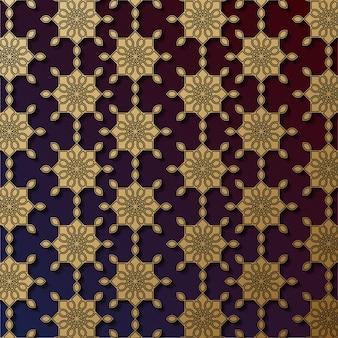 Modèle sans couture de conception de mandala ornemental de luxe en or