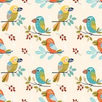 Modèle sans couture de conception oiseau fantaisie coloré.