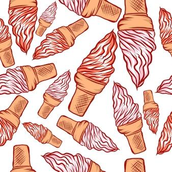 Modèle sans couture de cône de crème glacée tordue