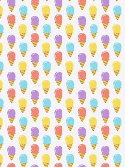 Modèle sans couture cône de crème glacée