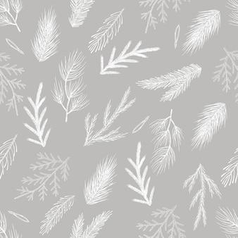 Modèle sans couture avec des cônes dessinés à la main, arbre de noël. illustration vectorielle de noël.
