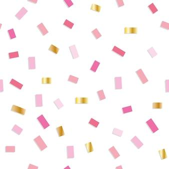 Modèle sans couture de confettis avec des petits morceaux roses et or.