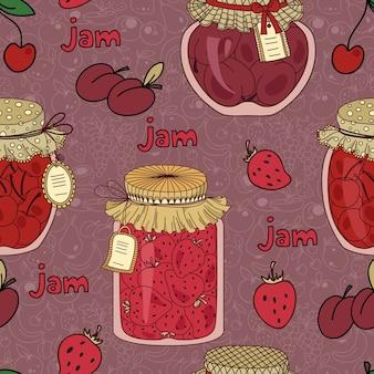 Modèle sans couture avec confiture de cerises, prunes et fraises