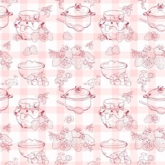 Modèle sans couture de confiture de fraises maison douce et saine