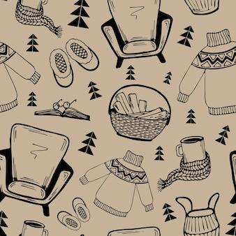 Modèle sans couture confortable home.vector dans le style scandinave. contour doodle clipart, travail à la main.