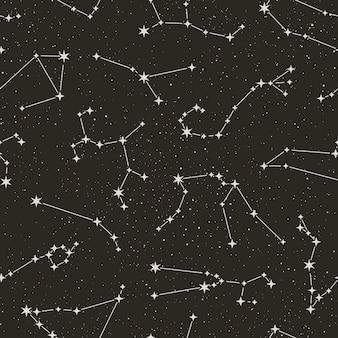 Modèle sans couture de constellations du zodiaque sur le fond noir étoilé dans un style tendance minimal. toile de fond de l'astrologie spatiale vectorielle. texture des symboles de l'horoscope.