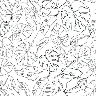 Modèle sans couture contemporain avec des feuilles de monstera
