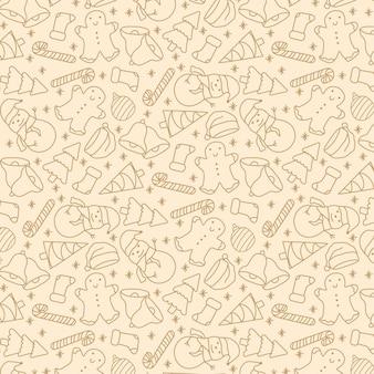 Modèle sans couture de contour dessiné à la main de noël