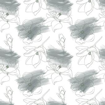 Modèle sans couture avec contour fleurs magnolias et coups de pinceaux