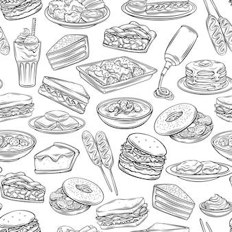 Modèle sans couture de contour de la nourriture américaine. arrière-plan avec chien de maïs monochrome dessiné, chaudrée de palourdes, biscuits et sauce, tarte aux pommes, blt. red velvet cake, gruau, monte cristo, érable, spray cheese et ets