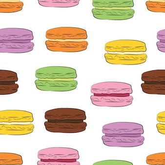 Modèle sans couture avec des cookies colorés de macaron.
