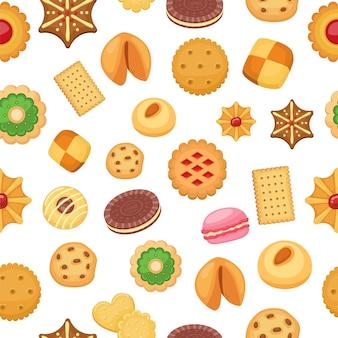 Modèle sans couture de cookies de différents cookies aux pépites de chocolat et biscuit, pain d'épice et gaufre, illustration.