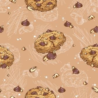 Modèle sans couture de cookies avec des gouttes de chocolat et des noix.