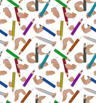 Modèle sans couture avec des copeaux de crayon