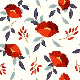 Modèle sans couture avec des coquelicots rouges