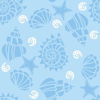 Modèle sans couture avec coquillages sur bleu