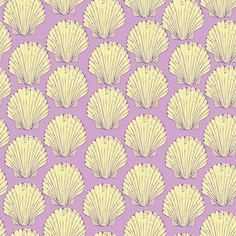 Modèle sans couture avec coquilles de pétoncles dessinés à la main. beaux éléments de conception marine, parfaits pour les imprimés et les motifs.