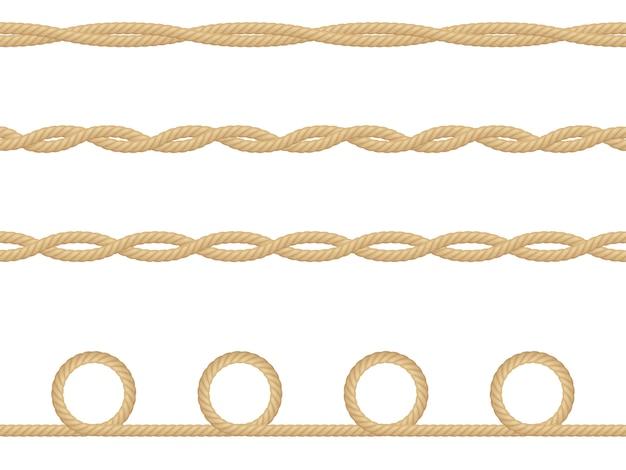 Modèle sans couture de corde nautique réaliste isolé sur blanc. texture pour produits imprimés ou textiles, papier d'emballage.