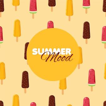 Modèle sans couture de cornet de crème glacée de dessin animé orange au chocolat et crème glacée de pastèque congelée été