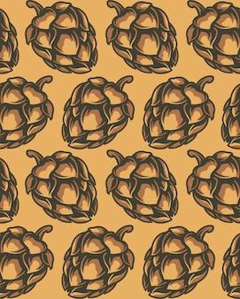 Modèle sans couture de couleur des cônes de houblon.