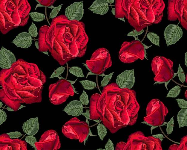 Modèle sans couture de couleur rouge roses