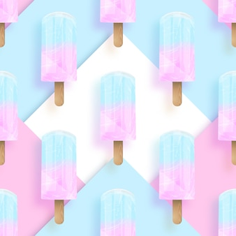Modèle sans couture de couleurs pastel popsicles crème glacée.