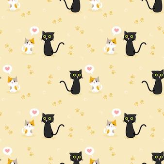 Modèle sans couture de couple chat mignon.