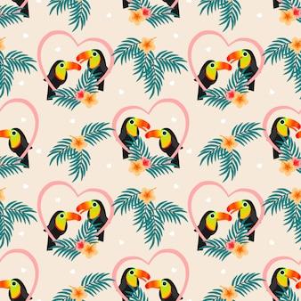 Modèle sans couture de couple mignon toucan.