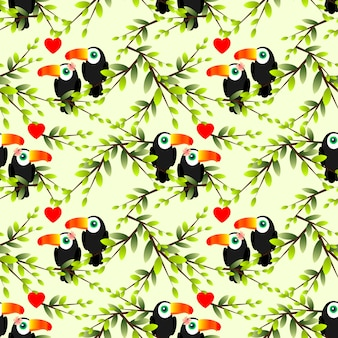 Modèle sans couture de couple toucan.