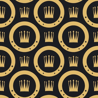 Modèle sans couture de couronne d'or. fond de luxe vintage doré,