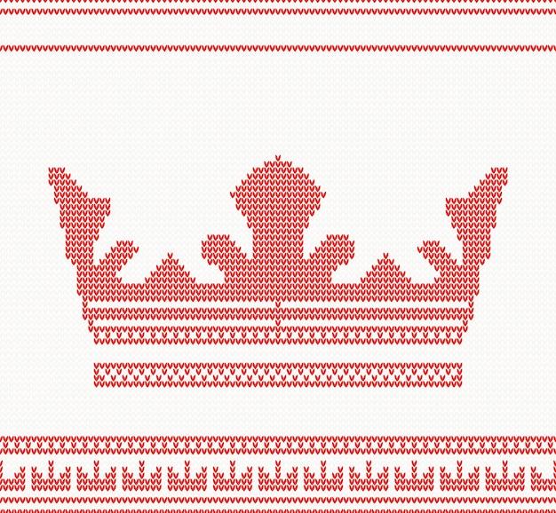 Modèle sans couture de couronne tricotée de couleur rouge.