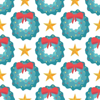 Modèle sans couture de couronnes de noël avec arc rouge et étoiles sur fond blanc