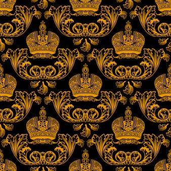 Modèle sans couture avec des couronnes d'or