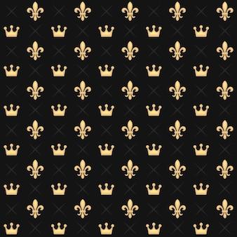 Modèle sans couture avec couronnes de roi et fleur de lys héraldique royale sur dark