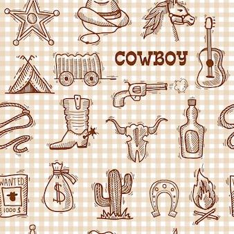 Modèle sans couture de cow-boy