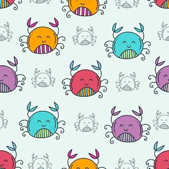 Modèle sans couture de crabe doodle mignon
