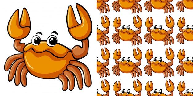Modèle sans couture avec crabe mignon