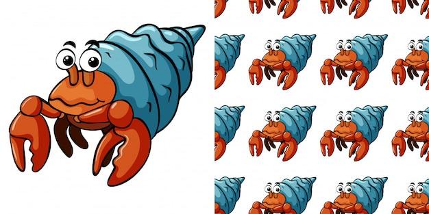 Modèle sans couture avec des crabes ermites