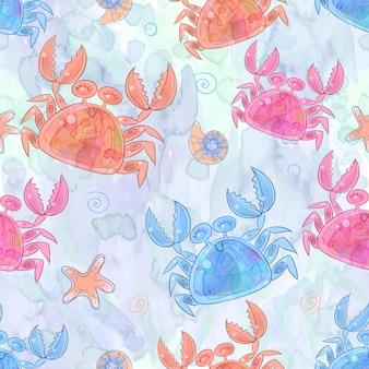 Modèle sans couture avec des crabes mignons.