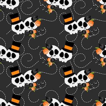 Modèle sans couture de crâne d'halloween et de décoration florale.