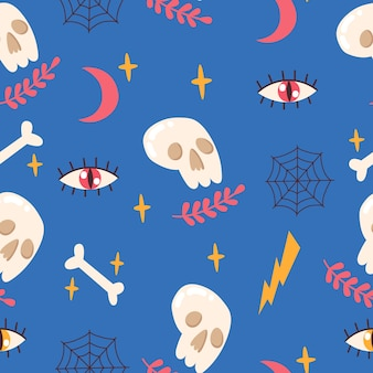 Modèle sans couture avec crâne, os, yeux, lune, étoiles, toile d'araignée. illustration vectorielle.