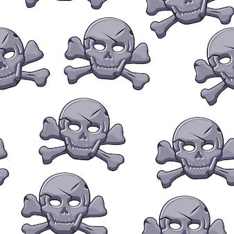 Modèle sans couture de crâne de pirate, marque noire en pierre.