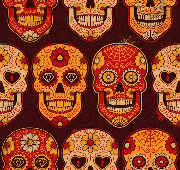 Modèle sans couture de crânes de calavera mexicaine. chaque couleur est dans un groupe