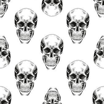 Modèle sans couture avec des crânes sur fond blanc.