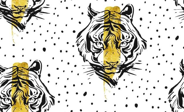 Modèle sans couture créatif abstrait dessiné main avec illustration de visage de tigre