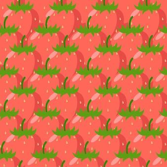 Modèle sans couture créatif aux fraises avec des fruits rouges. illustration vectorielle.